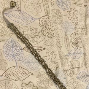 Anthropologie beaded elastic belt grey size Medium